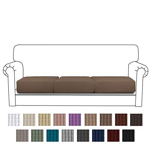 Easy-Going Stretch Cushion Cover Sofa Cushion Furniture Protector Sofa Seat Sofa slipcover Sofa Cover Soft Flexibility with Elastic Bottom(3-Piece Sofa Cushion,Camel) (Furniture Cushions Summer)