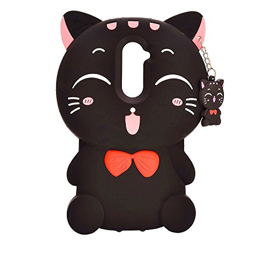 ZTE Zmax Pro Case, ZTE Carry Z981 Cover,Nico&Z 3D Cartoon Cute Black Lucky Fortune Cat Soft Silicone Bumper Back Skin for ZTE Zmax Pro / Carry Z981 6.0