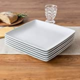 Better Homes and Gardens Porcelain Coupe Square Dinner Plates, White, Set of 6