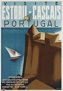 ESTORIL CASCAIS,PORTUGAL - Vintage Art Deco Cartel De Viaje ...