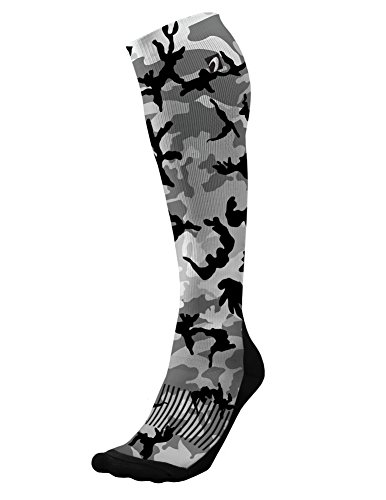 Designer Compression Socks Graduated for Performance and Recovery by Acel (Camo Grey, L)