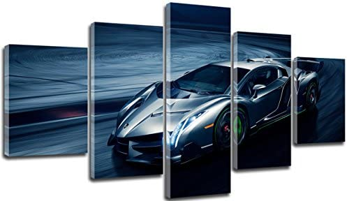 sunfrower Art-Large 60×32 Inch Big Pictures of Lamborghinis,Fashion Car Canvas Wall Art Metal Silver Fast Car Cool Sports Poster 5 Panel 3D Diamond Framed Print Painting