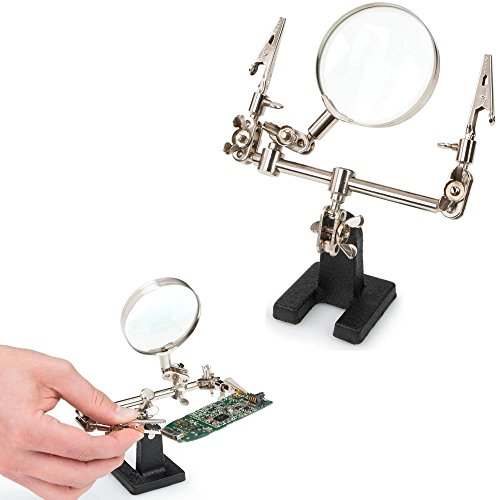 Adjustable Helping Hand Soldering Stand Glass Lens 2.5X Magnifier Alligator Clip
