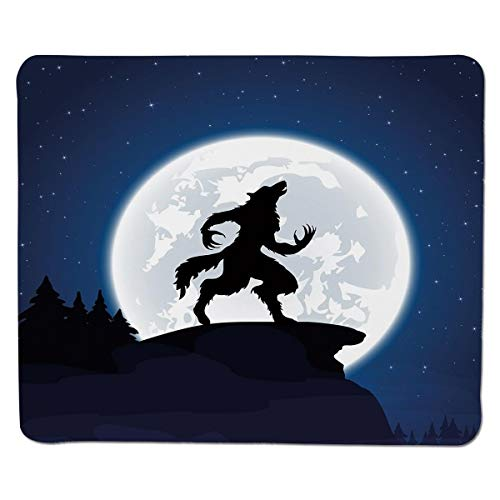Mouse pad Wolf,Full Moon Night Sky Growling Werewolf Mythical Creature in Woods Halloween,Dark Blue Black White Stitched Edge for $<!--$5.59-->