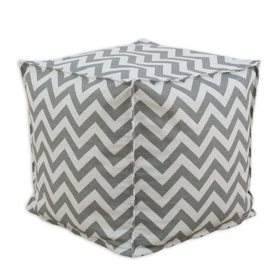 Chooty & CO Zig Zag Square Seamed Beads Hassock, 17-Inch, Ash