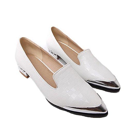 VogueZone009 Damen PU Leder Ziehen auf Spitz Zehe Niedriger Absatz Rein Pumps Schuhe Weiß