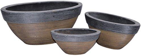 Ovals Florence Tuscany Natural Cement Fiber Planter Set, Color: Charcoal
