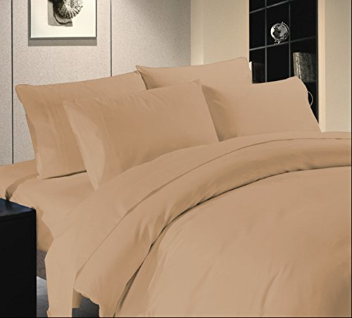 """(Amazon Luxurious Hotel Collection 800TC 4pc Sheet Set [ 1 Deep Fitted sheet ( fits up to 18""""), 1 Flat sheet & 2 pillow Case ] 100% Egyptian Cotton Twin XL Size Taupe Solid)"""