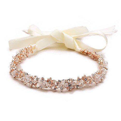 Mariell Rose Gold Crystal Cluster Bridal Wedding Headband Hair Vine – Ivory Ribbons