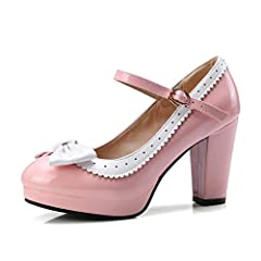 Vintage lolita shoes, go well with many kinds of vintage clothing. Soft upper material, breathable and comfortable. Round toe will not squeeze your toes. Super cute design, good choices for party and cosplay shows.