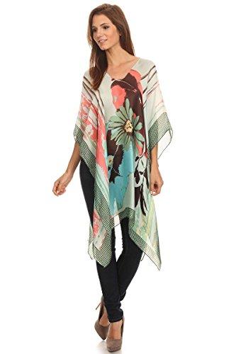 LL Womens Sea Green Poncho Cover Up Pretty Flower Polka Dot Print, One size
