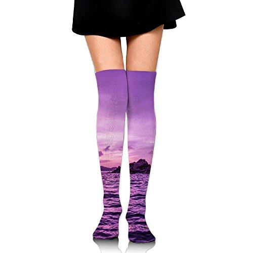 より平らな覚えているハンカチ紫の河畔 ストッキング サイハイソックス 3D デザイン 女性男性 秋と冬 フリーサイズ 美脚 かわいいデザイン 靴下 足元パイル ハイソックス メンズ レディース ブラック