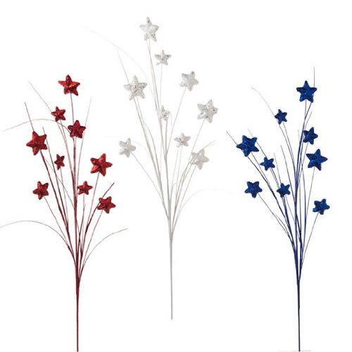 "RAZ Imports - 30"" Red, Silver & Blue Star Sprays"