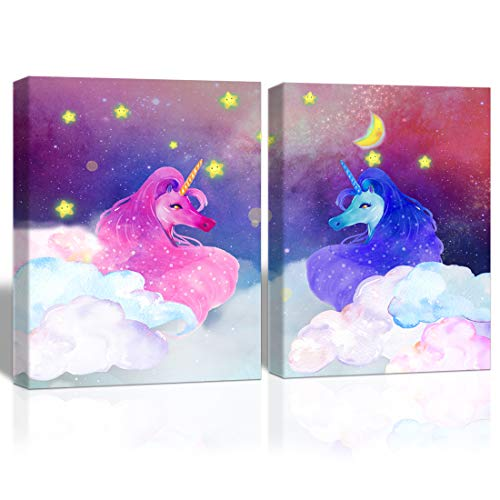 Purple Verbena Art fantasy Unicorns with star clouds Pictures Wall Décor Watercolor Hand Painting Canvas Print Art for Living Room Kid's Bedroom Home Decoration, Framed Artwork, 2pcs 12x16 (pink blue)