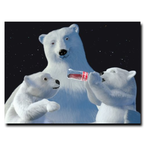 Polar Bear with Cubs and Coke Bottle 18x24-Inch Canvas Wall Art (Artwork Polar Bear)