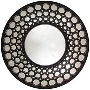 Northlight Glamorous Cascading Orbs Framed Round Wall Mirror, 24.75 , Black