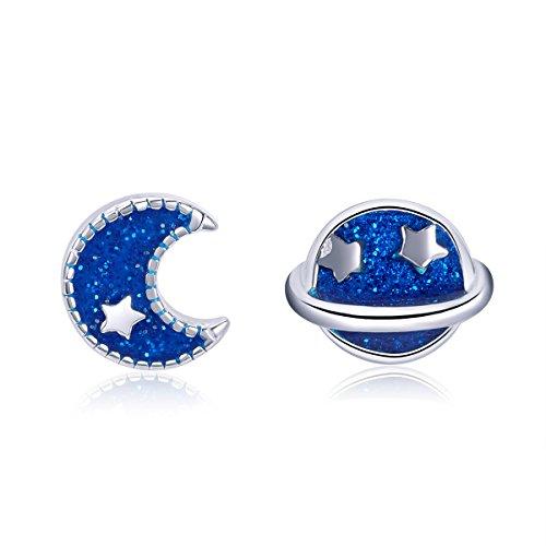 Childrens Enamel Star (BISAER 925 Sterling Silver Enamel Stud Earrings, Cute Moon Star Planet Earring Hypoallergenic Jewelry for Women Girls.)