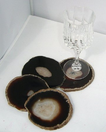 Airblasters Black color 3.5-4 inch Natural Sliced Agate Coaster Set of 4 by Airblasters (Image #4)