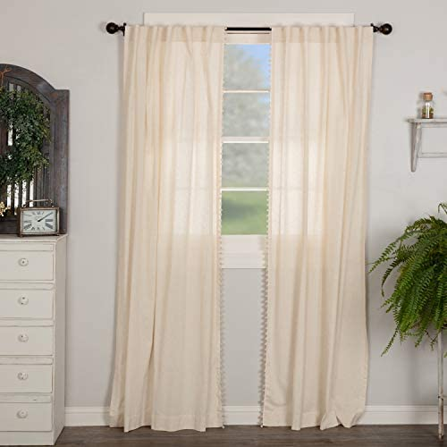 Olivia Panel Curtains w/ Macrame Pompom Accent