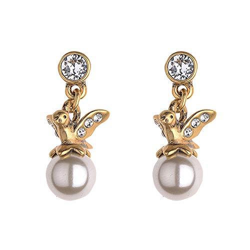 Fellala Pearl Dangle Earrings for Women Gold Plated Bird Earrings