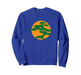 Unisex Bonsai Tree Sweatshirt with Orange Sun Japanese Karate Zen Small Royal Blue