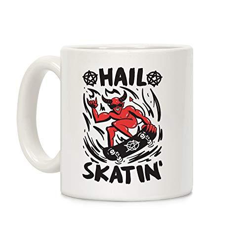 LookHUMAN Hail Skatin' Satan White 11 Ounce Ceramic Coffee Mug -