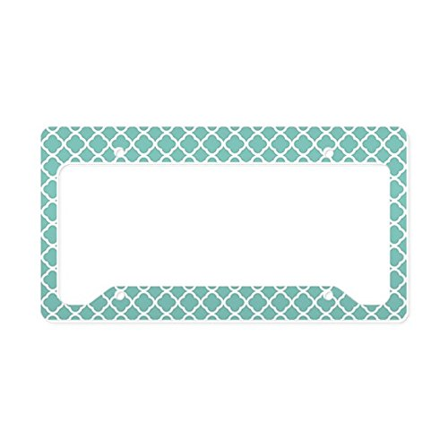(CafePress Tiffany Blue & White Moroccan Aluminum License Plate Frame, License Tag Holder)