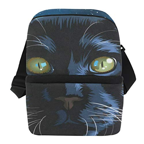 Lunch Bag Black Cat Night Portable Cooler Bag Mens Leakproof Lunch Box Zipper Tote Bags for Golf - Mini Cooler Golf Bag
