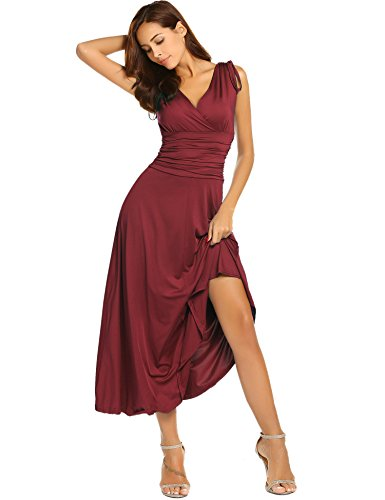 ACEVOG Women's Sleeveless Ruched Waist Classy V-Neck Casual Cocktail Party Dress,Wine Red,Large