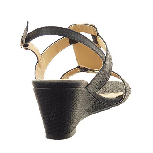 Sopily plantilla sintético Talón serpiente mujer abierto joyas CM Plataforma piel 6 Negro de Zapatillas Sandalias Moda strass de Tobillo T7wqaxfzTn