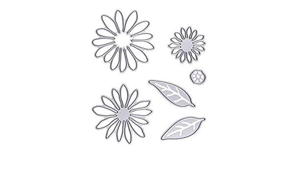Moldes de chocolate 6 piezas de acero al carbono de flor y hojas de plantillas de corte en relieve plantillas de moldes conjunto de moldes para álbum de ...