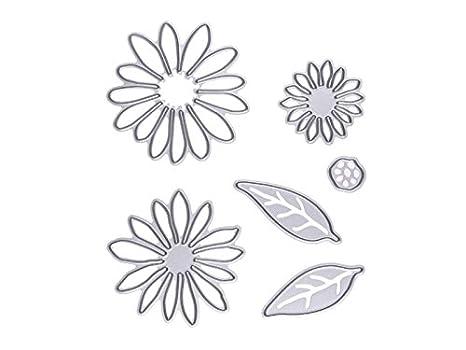 Blueqier Creativo 6 Piezas de Acero al Carbono de Flor y Hojas de Plantillas de Corte