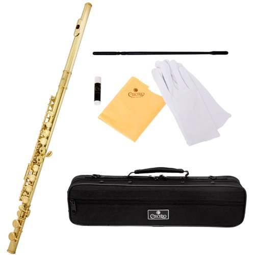 Cecilio FE-280L Gold Lacquer Key of C Flute with Case and Accessories by Cecilio