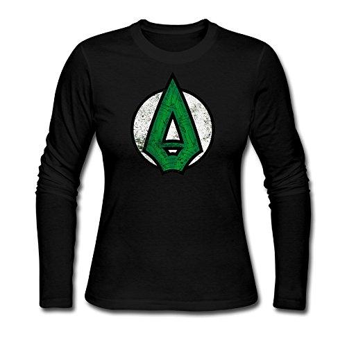 Women's Green Arrow Logo Cotton Long Sleeve Tshirt (Green Arrow Suit)