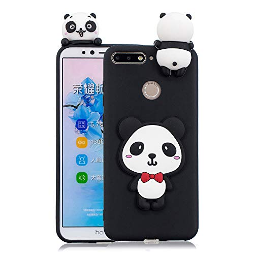 3D Cartoon Animal Case for Huawei Y6 2018,Yobby Huawei Honor 7A Cute Kawaii Pattern Case Slim Soft Flexible Rubber Silicone Shockproof Protective Back Cover-Panda Red Bow