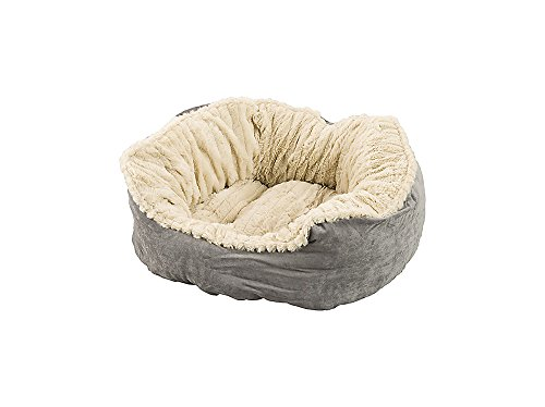 Sleep Zone Faux Suede Carved Plush Lounger, Cuddler, Napper Dog Bed – Fabric Bottom – 21X17 Inches/Grey / Attractive, Durable, Comfortable, Washable. by Ethical Pets Review