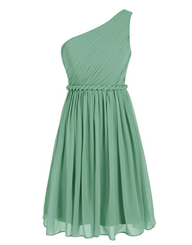Wedtrend Women's Short Homecoming Dress One-shoulder Bridesmaid Dress WT12065Green4
