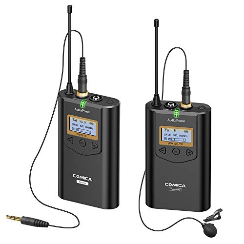 COMICA CVM-WM100 48 Channels Wireless Lavalier Microphone UHF Wireless Lapel Microphone System for Cameras, Camcorder,Smartphone