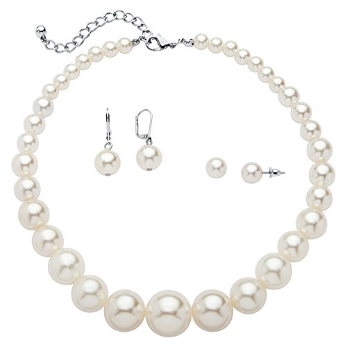 Palm Beach Jewelry Graduated Simulated White Pearl Necklace and 2-Pair Earrings Set in Silvertone 16