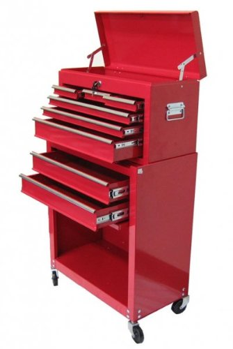 Excel 24 Inch Tool Chest Combo - 8 Ball Bearing Drawers (Red) (42.6
