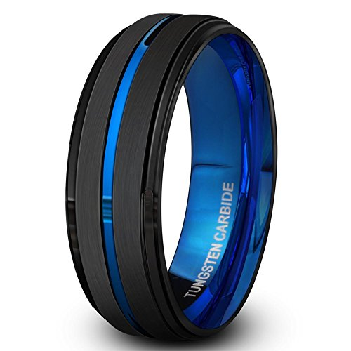Price comparison product image Black Tungsten Carbide Ring for Men 8mm Wedding Band-Matte Finish-Blue Grooved-Rounded Smooth Interior Comfort Fit-Thick and Heavy