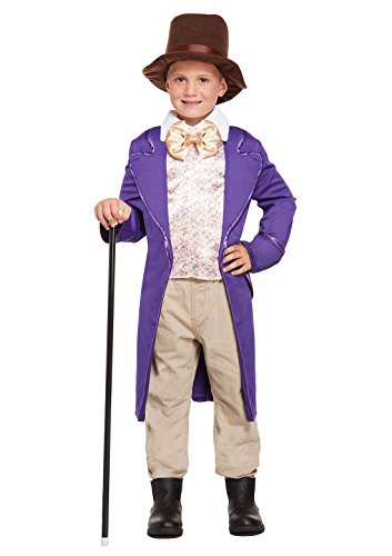 Kids Willy Wonka Chocolate Factory Fancy Outfit Childrens Party Wear Outfit 7-9 Years Medium