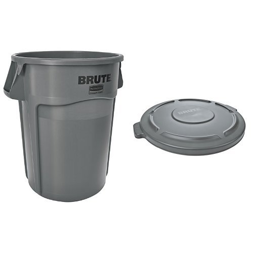 (Rubbermaid Commercial BRUTE Trash Can, Vented, 44 Gallon, Gray with Lid (FG264360GRAY & FG264560GRAY))