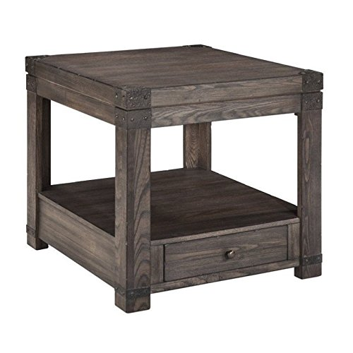 Signature Design by Ashley T846-3 Burladen Rectangular End Table, Washed Gray Brown Finish