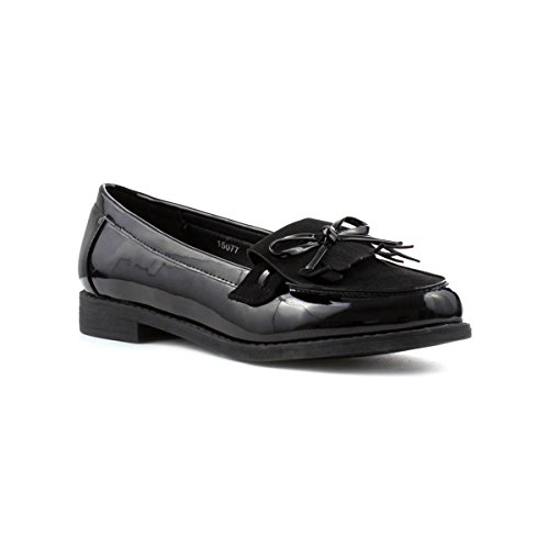 Tassel Black Bow Black Lilley Shoe Loafer Patent Womens qH4awpa