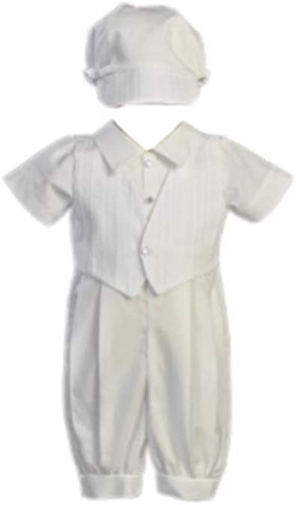 Cotton-Poly Christening Romper and Embroidered Vest