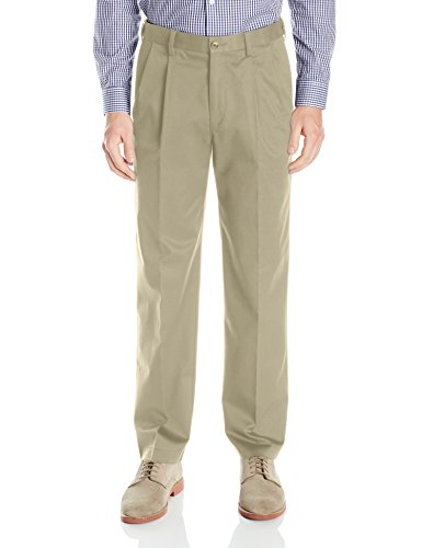Savane Men's Big and Tall Pleated Ultimate Performance Chino Pant, Mid Khaki, 44x32 (Pleated Front Chino)
