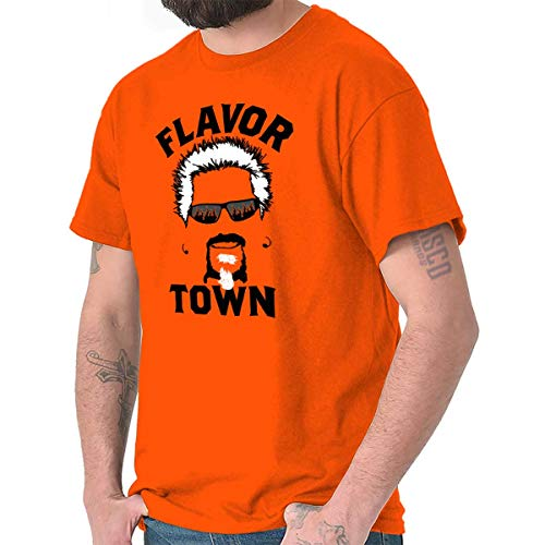 Brisco Brands Food TV Flavor Town Funny Meme Foodie T Shirt Tee Orange (Town Flavor)