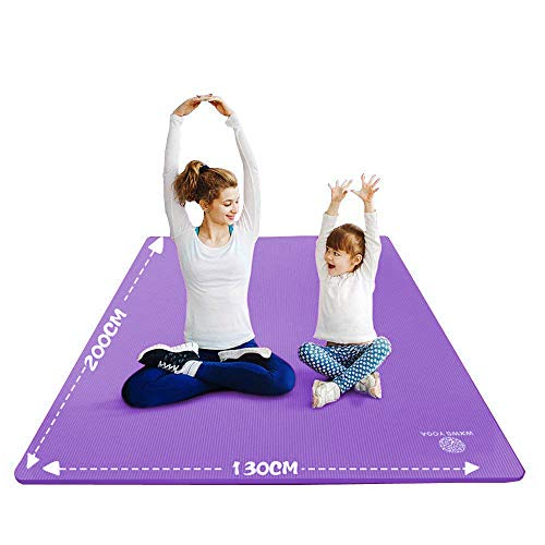 YUREN Big Exercise Mat 4'x7'x 10mm Extra Thick NBR Made Parent Kids Yoga Mat Home Extra Large Exercise Floor Mat with Carrying Strap ()