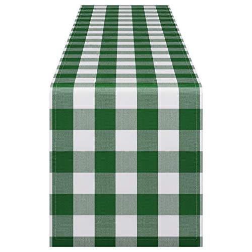 InnoGear 14 x 108 inch Buffalo Check Table Runner Polyester Cotton Green and White Plaid for Indoor and Outdoor Parties, Family Dinner, Thanksgiving, Christmas & Gathering